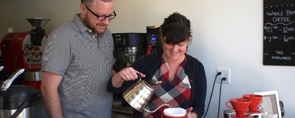 Brant and Kendra owners of Custom Cup Coffee in Springfield, IL